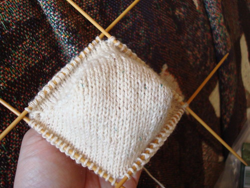 My first toe-up sock - ready to start the foot