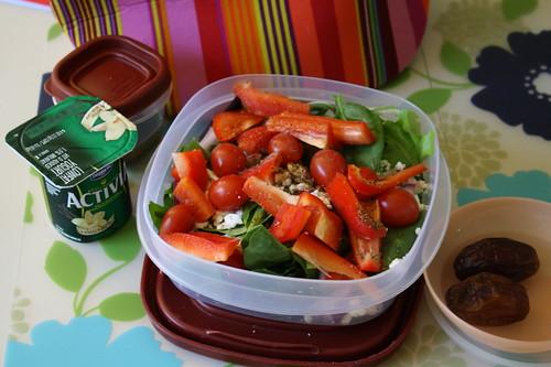 Vanilla Activia yogurt, salad, dates