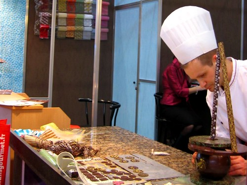 Chocolatier at work on a delicious edible sculpture.