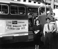 Betty Griggs, tour hostess, and bus driver wit...