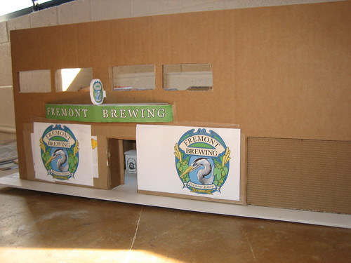 This is what the brewery/tasting room will look like from the street (its a cardboard mock up)