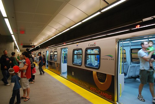 Canada Line train at Oakridge Station