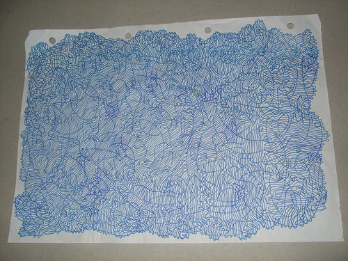 detailed blue line curving around A4 page
