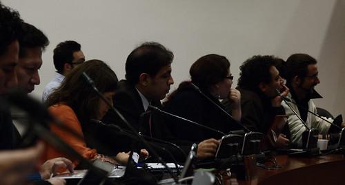 Miembros de RedPaTodos e Internautas en la socialización de las modificaciones al proyecto de la llamada Ley Lleras el 2 de Junio de 2010.