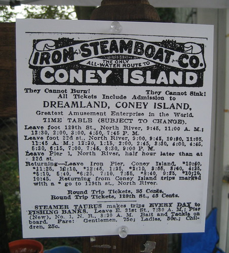 Vintage Ad: Iron Steamboat Co. The Only All Water Route to Coney Island.  Photo by Tricia Vita via Coney Island History Project flickr
