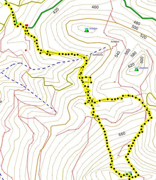 Mapa de la ascensión al Adarra desde Besabi