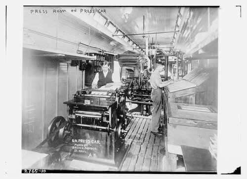 Press room on press car (LOC)