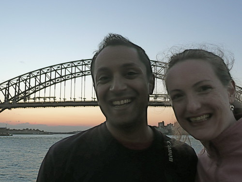 Two random people, sunset, Sydneys Harbor Bridge