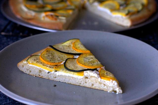 lemony zucchini goat cheese pizza