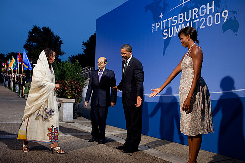 President Barack Obama and First Lady Michelle Obama receive Prime Minister Meles Zenawi of Ethiopia and his wife, Azeb Mesfina