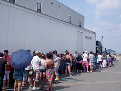 The line went back this far. So glad we were at the front!