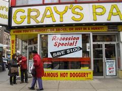 Recession special at Gray's Papaya shop