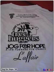 Jog for Hope t-shirt (back)