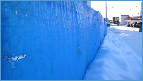 The versatile blue tarp, used this time as fencing.