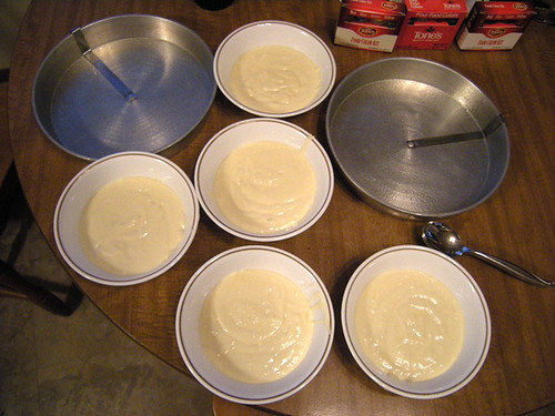 Separate the batter into X amount of bowls. I choose 5 colors. Also make sure your pans are sprayed well so the cake pops right out.