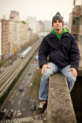 It took a little convincing, but Ed was up to the task of climbing onto the ledge.  (Hey, I had to lean out there too!)