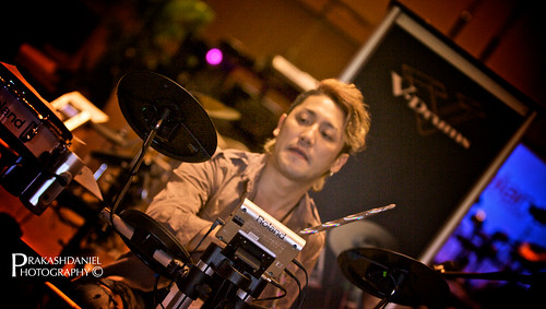 Masaking working on the Roland electronic drums
