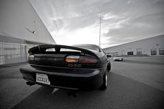 Camaro SS staring down my Z (z's faster =D)
