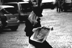 blond woman reading