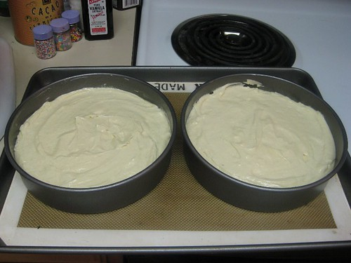Pour batter into pans