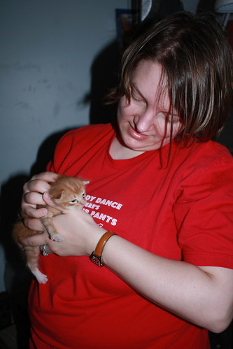 Karyn and two-week old kitty
