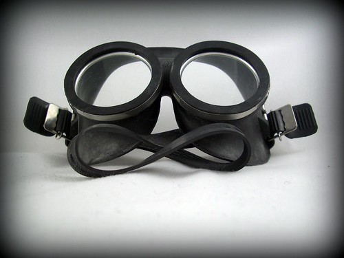 These rubber German goggles have kind of a mad scientist/Dr. Strangelove vibe to them, but the adjustable strap should keep them flush against your face and and keep your eyes safe when the wind starts kicking up sand