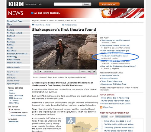 BBC NEWS | UK | Shakespeare's first theatre found
