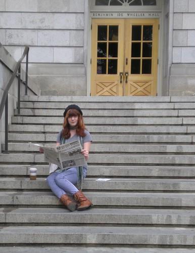 Em on steps of Wheeler