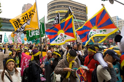 Thousands march at a rally to show support for a free Tibet in Taipei, Taiwan.
