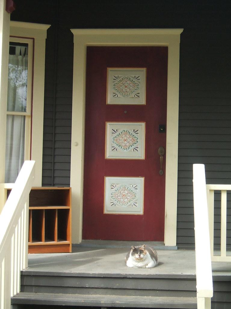 Big kitty and beautiful door