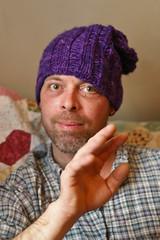 blub in purple hat
