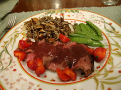 Magret with Strawberry Red Wine Balsamic Sauce