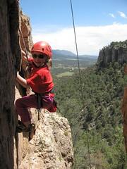 Julia climbing at Shelf Road