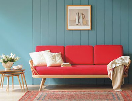 Ercol studio couch red upholstery