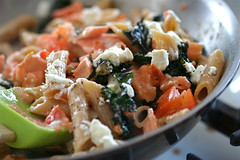 Creamy Penne with Kale, Salmon and Goat Cheese cooking