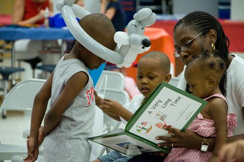 A military family enjoys a good book