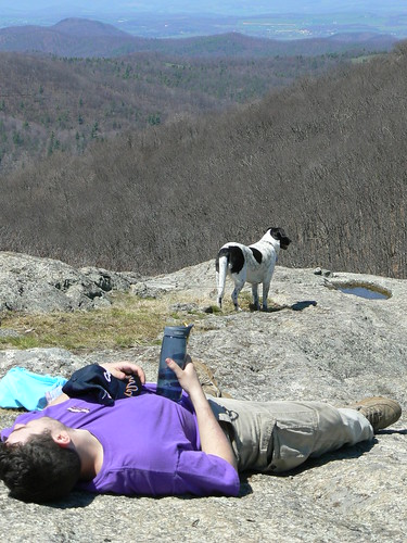 Backpacking - Saturday - Spy Rock - Man Napping, Dog Enjoys View