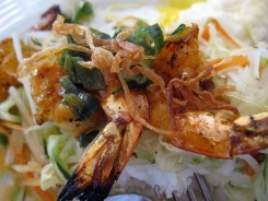 co'm grill - shrimp over fragrant rice w. egg close up by you.