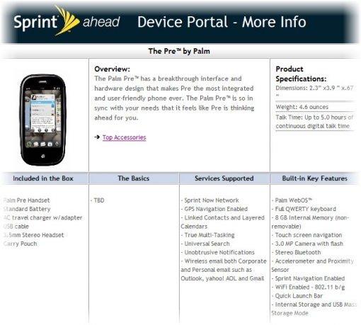 sprint releases palm pre updated specs sheet