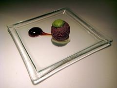 Amuse Bouche - Lamb patty on yoghurt raita, tamarind sauce & mint chutney