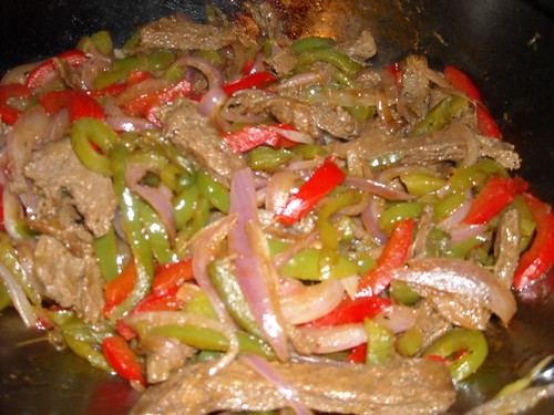 Onions, Peppers and Morningstar Steak