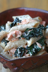Creamy Penne with Kale, Salmon and Goat Cheese 3