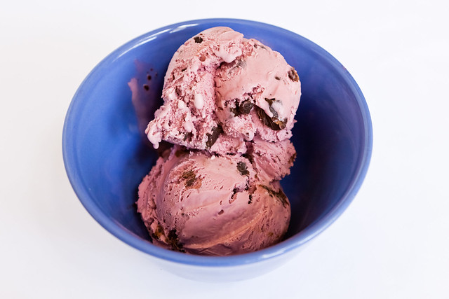Black raspberry ice cream with chocolate chunks