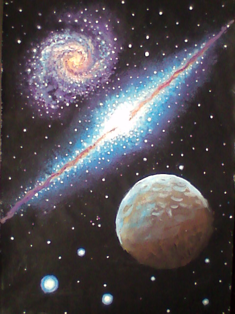 Painting of two galaxies and a planet