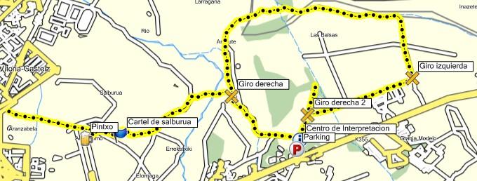 Mapa del paseo por el Humedal de Salburua - Balsa de Arkaute