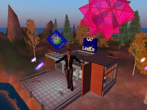 Two of my geometric sculptures floating over M Lindens office in SL.