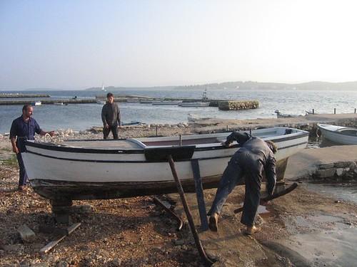 Boat on dry dock in Turanj.