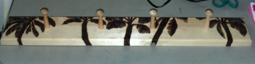 The Completed Jewelry Rack With Wood Burned Palm Trees