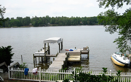 the dock at the river house