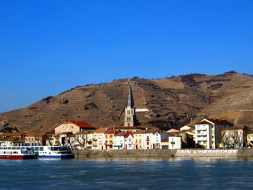 Tain lHermitage, photographed from Tournon-sur-Rhone.
